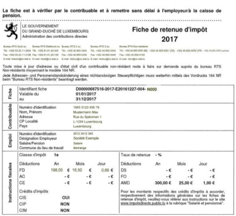 unser obenstehendes muster zeigt nur die steuerklasse 1a es gibt jedoch insgesamt drei steuerklassen in luxemburg 1 1a und 2 zu beachten ist dass ein - Steuererklarung Rentner Muster